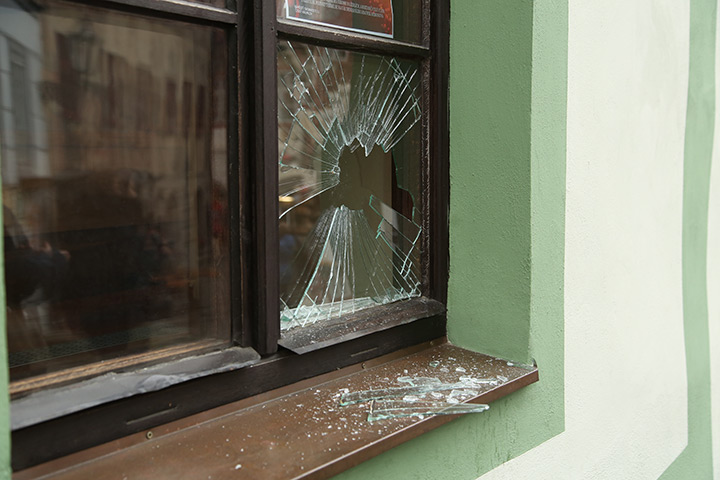 A2B Glass are able to board up broken windows while they are being repaired in Greenhill.
